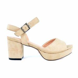 Nude Platform Sling-back Sandals